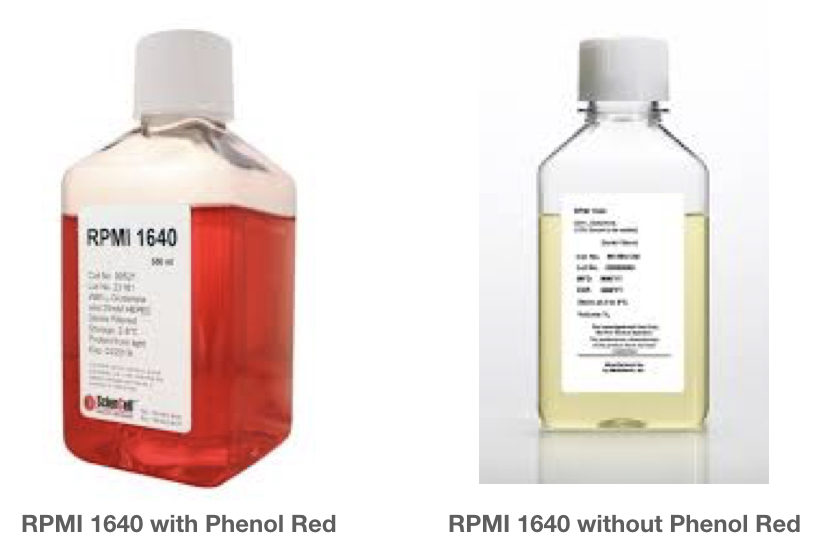 The RPMI 1640 medium with Phenol red and without phenol red