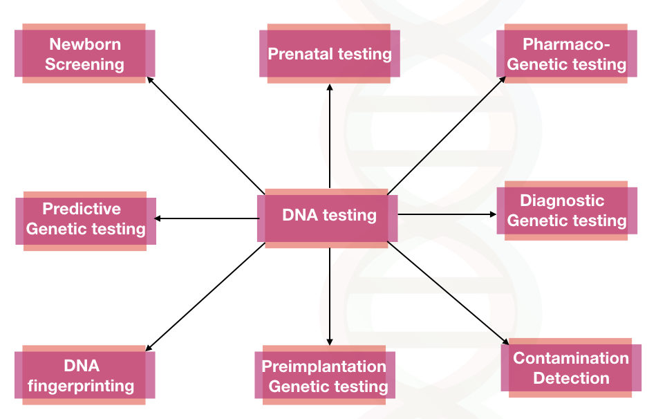 Different types of DNA testing methods.