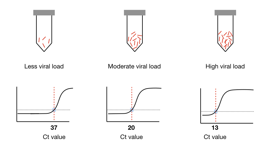 Pictorial representation of Ct value and viral present in a sample.
